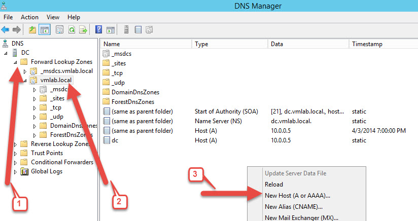 Configure - Add DNS A records for your LAB - New Host A Record