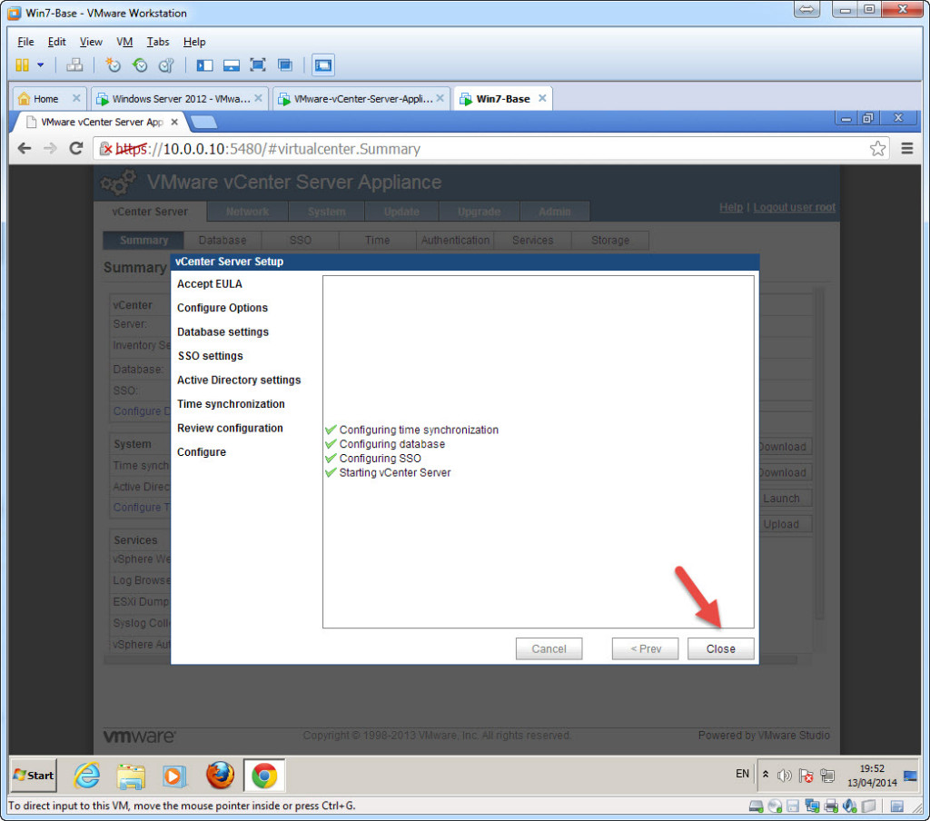 Configure - vCenter Appliance 5.5 using the first time set-up wizard - Complete