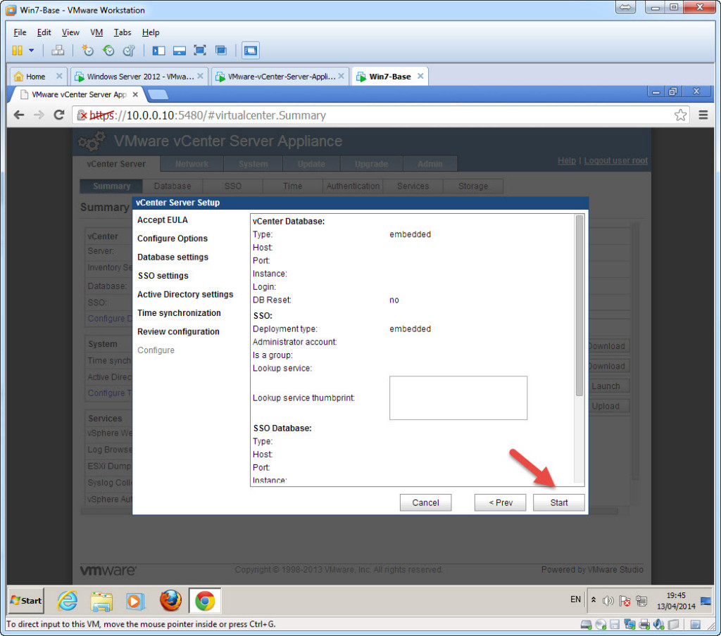 Configure - vCenter Appliance 5.5 using the first time set-up wizard - Config Default