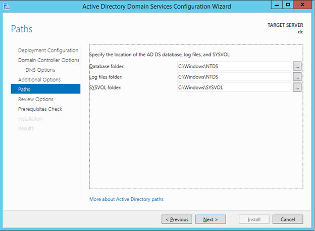 Promote to Domain Controller - AD Install Path