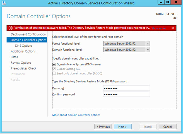 Promote to Domain Controller - DC Options