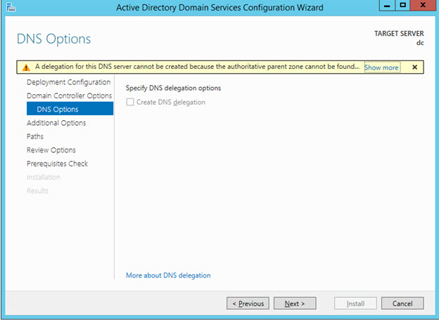 Promote to Domain Controller - DNS Delegation