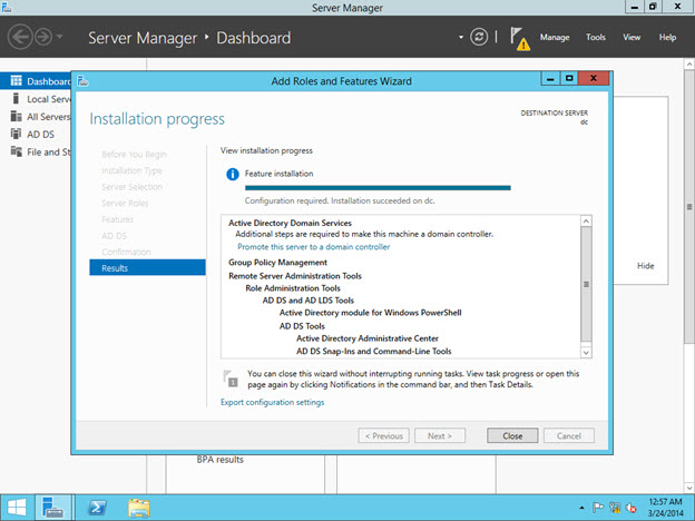 Setup ADDS Role (Active Directory Domain Services) - Completed