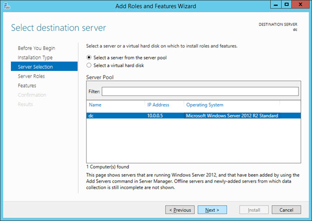 Setup ADDS Role (Active Directory Domain Services) - Select Server