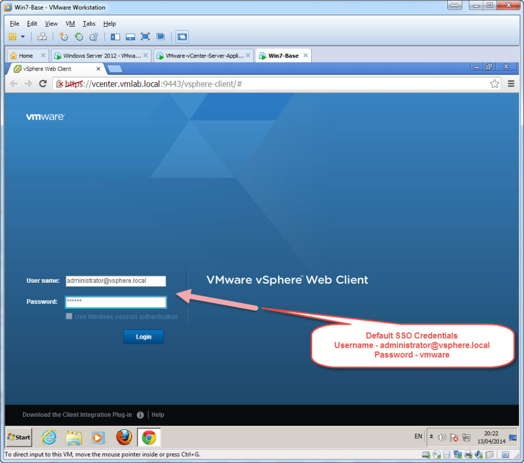 Test Installation - Access vCenter Single Sign On using the web client - Login B