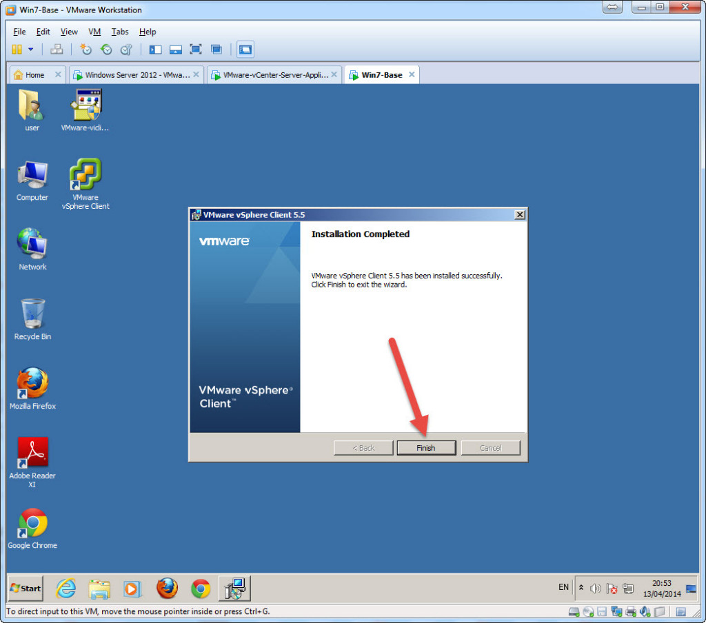 Test Installation - Access vCenter using the c# Windows vSphere Client - Install C
