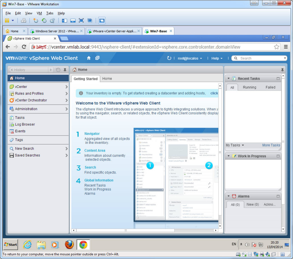 Test Installation - Access vCenter using the web client - Success