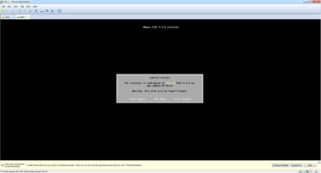 Install ESXi 5.5 - Confirm Install