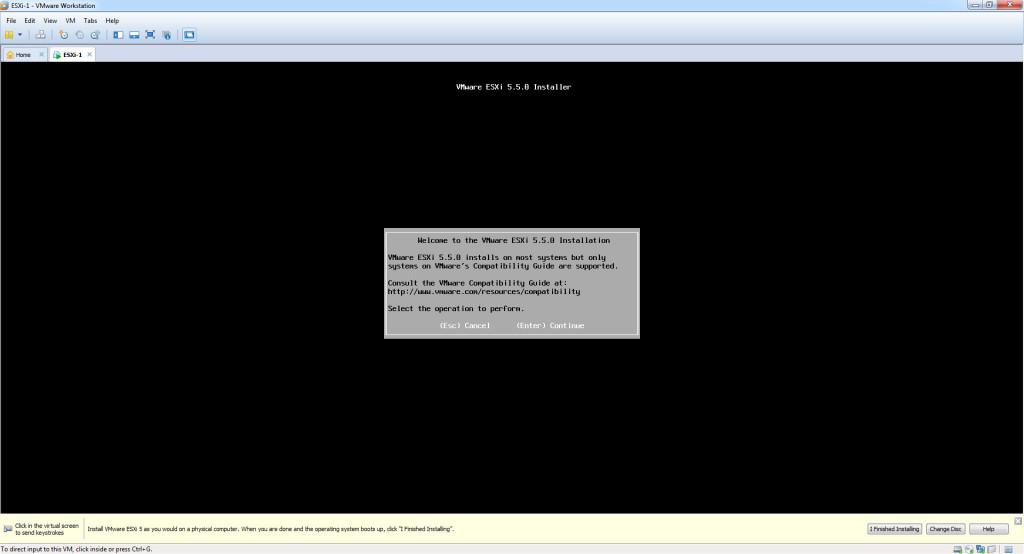 Install ESXi 5.5 - Install Start