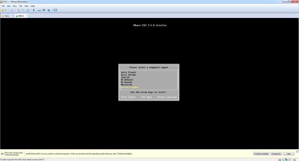 Install ESXi 5.5 - Keyboard