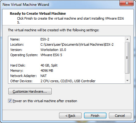 Set-Up Virtual Machine in VMware Workstation - Finish Wizard